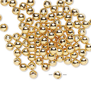 Bead, gold-plated brass, 4mm smooth round. Sold per pkg of 100