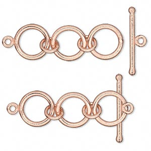 Clasp, toggle, copper-plated copper, 40x13mm 3-ring. Sold per pkg of 2.