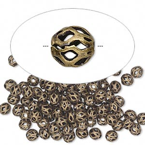 Bead, antique gold-plated brass, 4mm cutout round. Sold per pkg of 100.