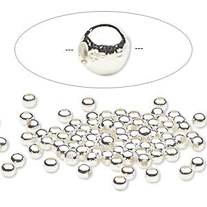 Bead, silver-plated steel, 3mm round. Sold per pkg of 100