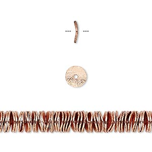 Bead, copper, 6x1mm brushed wavy rondelle. Sold per pkg of 20.