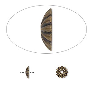 Bead cap, antique gold-plated brass, 6x1.5mm ribbed round, fits 6-8mm bead. Sold per pkg of 100