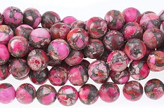 "Pink Impression Jasper and Pyrite - Dyed - 8 mm Round - 16"" Strand"