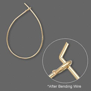 Earwire, gold-plated brass, 27x17mm teardrop hoop. Sold per pair