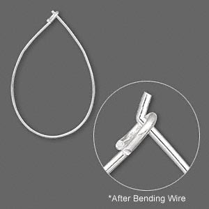 Earwire, silver-plated brass, 27x17mm teardrop hoop. Sold per pair