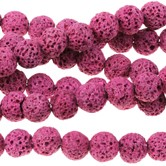 Pink Lava  - Dyed - 6-7 mm Round - Sold Per Strand - Approx. 62 Beads