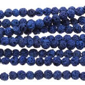 Lapis Lava - dyed - 6-7 mm Round - Sold Per Strand - Approx. 62 Beads
