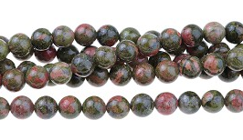 Unakite Jasper - natural - 8 mm Round - Sold per Strand Approx 48 Beads
