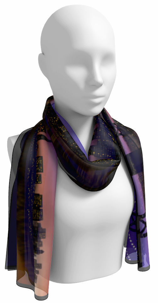 San Fransisco Night Skyline Long Scarf
