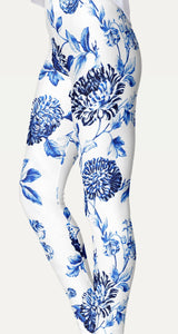 Blue Floral Toile Leggings