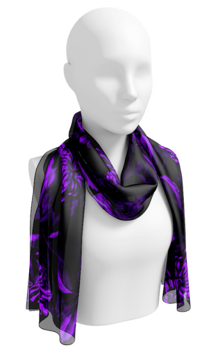 Purple on Black Quiet Floral Toile Long Scarf