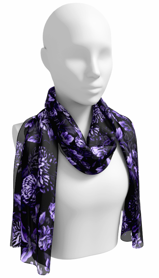 Purple on Black Floral Toile Long Scarf