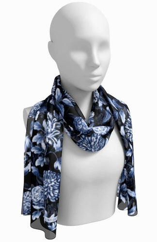 Blue on Black Floral Toile Long Scarf