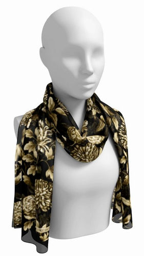 Gold on Black Botanical Floral Toile Long Scarf