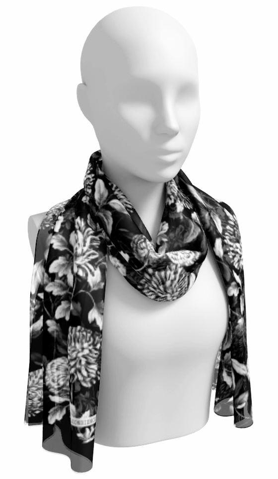 Black and White on Black Floral Toile Long Scarf
