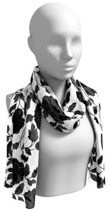 White & Black Floral  Scarf