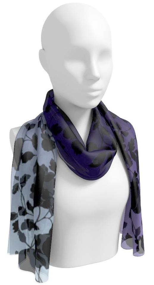 Black Floral Toile Long Scarf on Purple Ombre