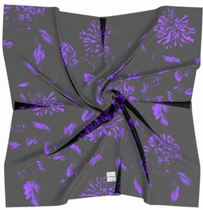 Black and Purple Quiet Floral Square Scarf