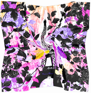 Paris Is Blooming Psychedelic Garden Square Scarf