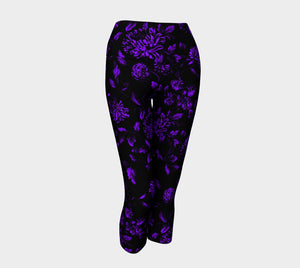 Black and Purple Floral Magic Yoga Capris