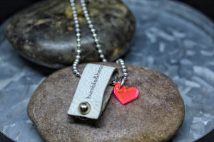 Leather Loop h&h Tag Necklace