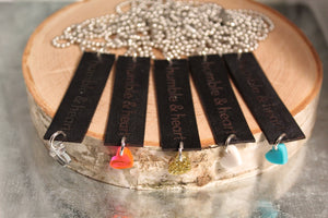 Black Leather h&h Tag Necklace