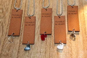 Tan h&h Leather Tag Necklace