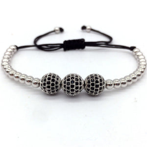Mens Luxurious Triple Bead Bracelet