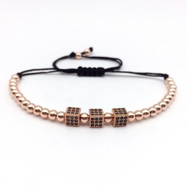 Mens Luxurious Triple Box Bead Bracelet