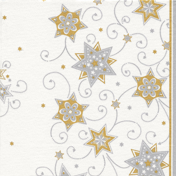 Load image into Gallery viewer, Dinner Napkin (AIRLAID) - Stars & Swirls SILVER & GOLD