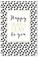 Greeting Card - Birthday (Gold with Black dots)