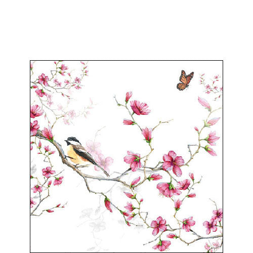 Cocktail Napkin - Bird & Blossom WHITE (Collection: 13311215) - COLLECTION