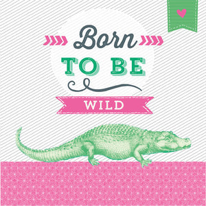 Lunch Napkin - Born to be Wild (Crocodile PINK)