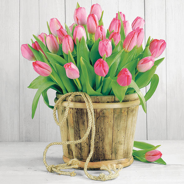 Load image into Gallery viewer, Lunch Napkin - Tulips in Bucket (Collection: 12509950)