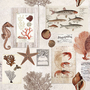 Load image into Gallery viewer, Lunch Napkin - Sepia Sea CREAM (Collection: 12511330)