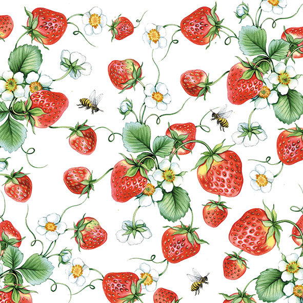 Lunch Napkin - Strawberries All Over WHITE (Collection: 12511645) - COLLECTION