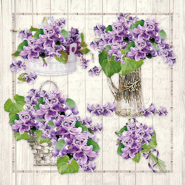 Load image into Gallery viewer, Lunch Napkin - Purple Bouquets