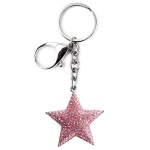 Key Chain - Star PINK with Jewel Accents