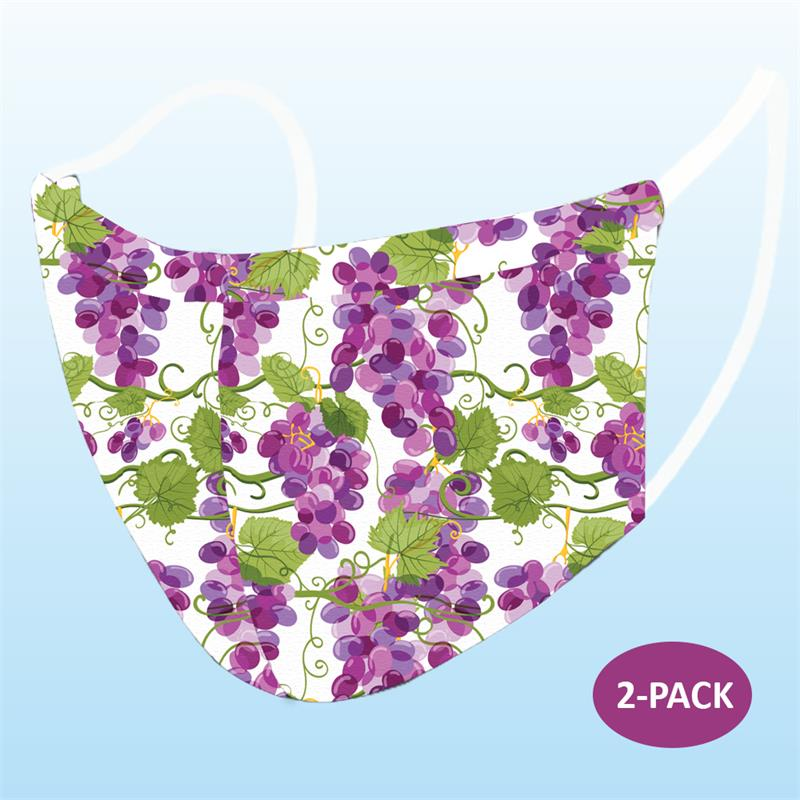 Face Mask - Grapes Print (Adult) - 2 PACK