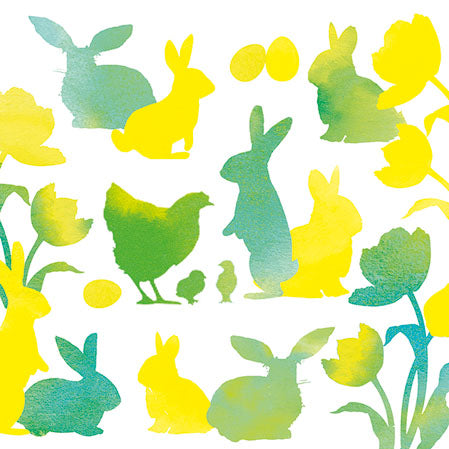Cocktail Napkin - Easter Silhouettes GREEN (Collection: 23312776)