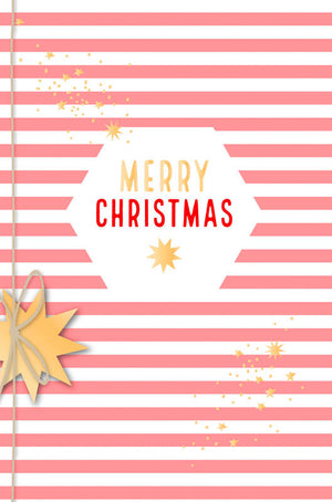 Greeting Card - Christmas (Merry Christmas - Stripes PINK & WHITE)