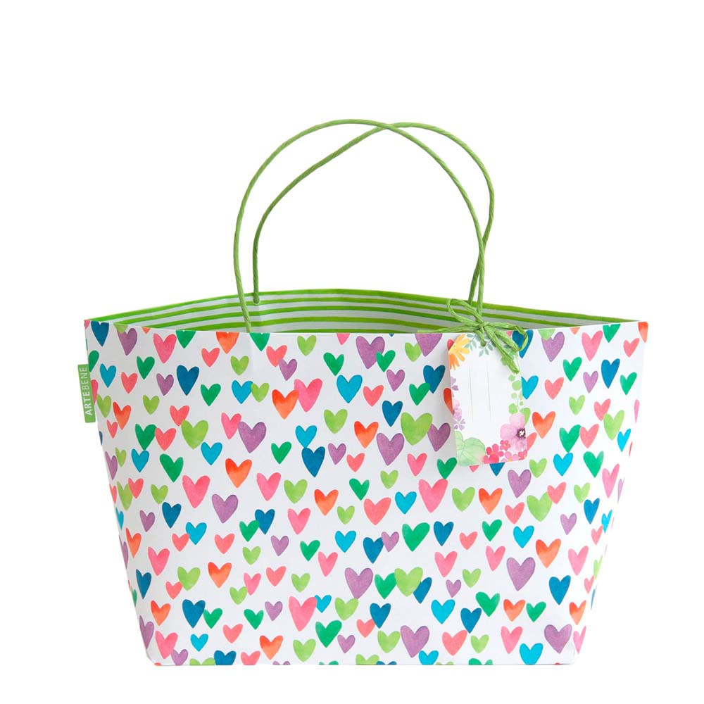 Gift Bag - Colourful Hearts on WHITE
