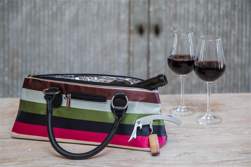 Wine Clutch - SILVER QUILTED Insulated Single Bottle Wine Tote