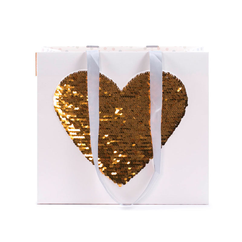 Gift Bag - Large Sequins HEART - GOLD/SILVER