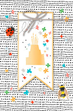 Greeting Card - Birthday (Summer Golden Cake with Ribbon)