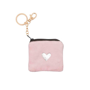 Key Chain - Coin Pouch SILVER HEART ON PINK