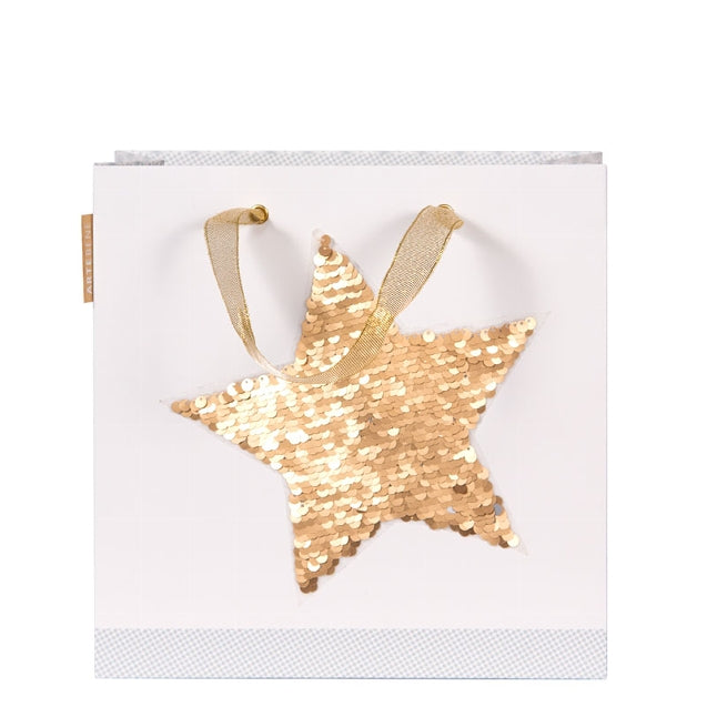 Gift Bag - Large Sequins STAR - GOLD/SILVER