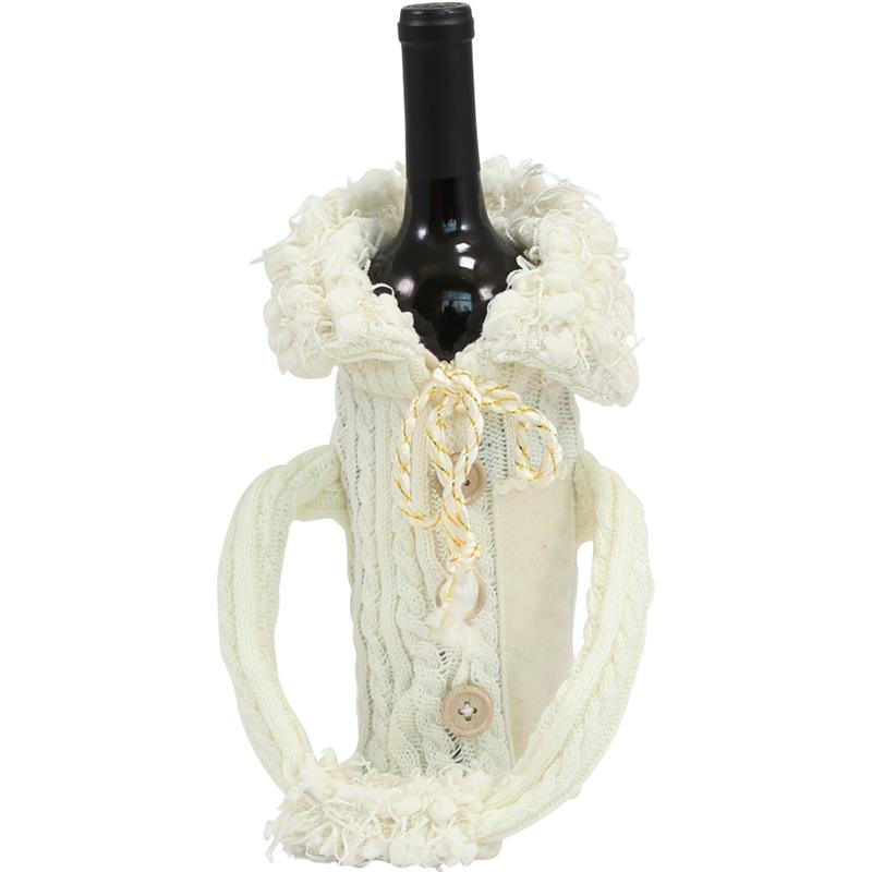 Wine Bottle Covers - Sweater WHITE