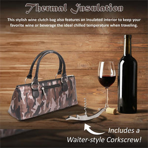 Wine Clutch - CAMOUFLAGE COFFEE Insulated Single Bottle Wine Tote