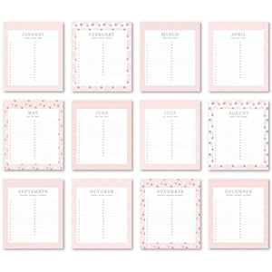Load image into Gallery viewer, Birthday Calendar - Desk Calendar (PINK CLASSY)